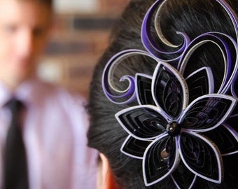 Wedding Hair Ornaments, Purple Wedding Hair Clip, Black Wedding Fascinator