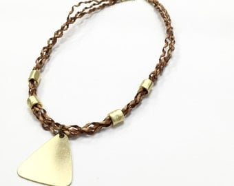 Leather necklace, triangle pendant, gold pendant, natural curly leather, geometric pendant, handmade leather necklace, gold triangle jewelry