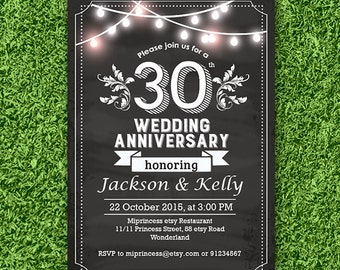 Anniversary Invitation, Wedding Anniversary Invitation 10th 20th 30th 40th 50th 60th chalkboard retro theme - card 735