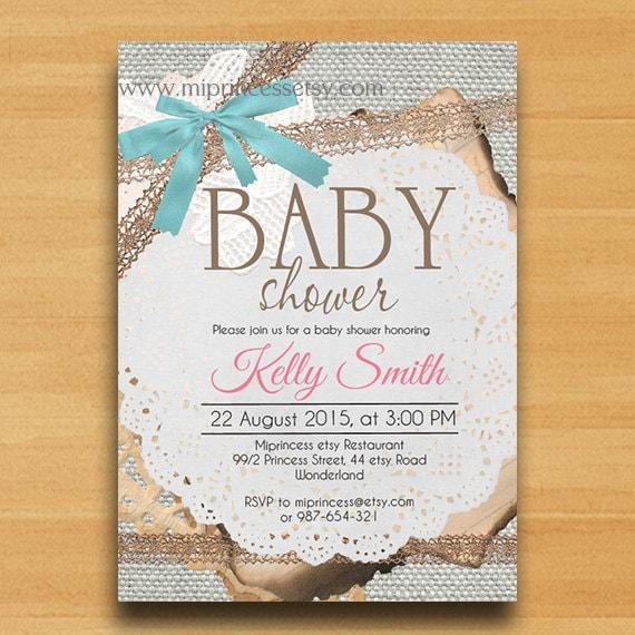 baby shower invitation burlap baby shower invitation vintage rustic