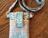 Personalized Fabric Cell Phone Case, iPhone Pouch, Smartphone Sleeve, Cross Body Bag, Cell Phone Holder, Mother's Day Gift