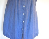 FREE SHIPPING Midi Mid-length Blue Liz Caliborne Button-Down Skirt 1980s Women's Medium Size 8