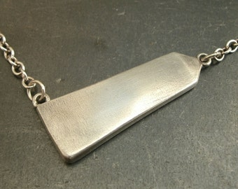 Obelisk Necklace Asymmetrical Jewelry- Fine Silver Necklace-  Eco-Friendly Jewelry Archaeologist Gift- Silver Bar Necklace- Egyptian Jewelry