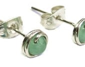 Aventurine and Sterling Silver Wire-Wrapped Stud Post Earrings