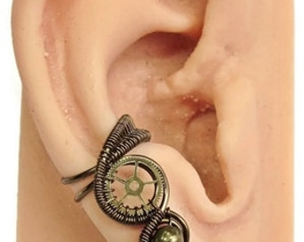 Small Bronze Steampunk Ear Cuff - Steampunk Jewelry