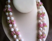 Two Strand Beaded Necklace Pink & White Flower Beads