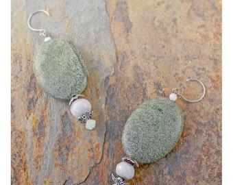Bohemian Earrings Sterling Silver Stone Jewelry Sage Green Serpentine Earrings Drop Earrings Boho Hippie Dangle Earrings Moonstone Earrings