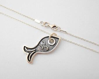 Silver fish necklace oxidized silver fish pendant necklace Sterling silver fish pendant on silver chain blackened silver fish, fish charm