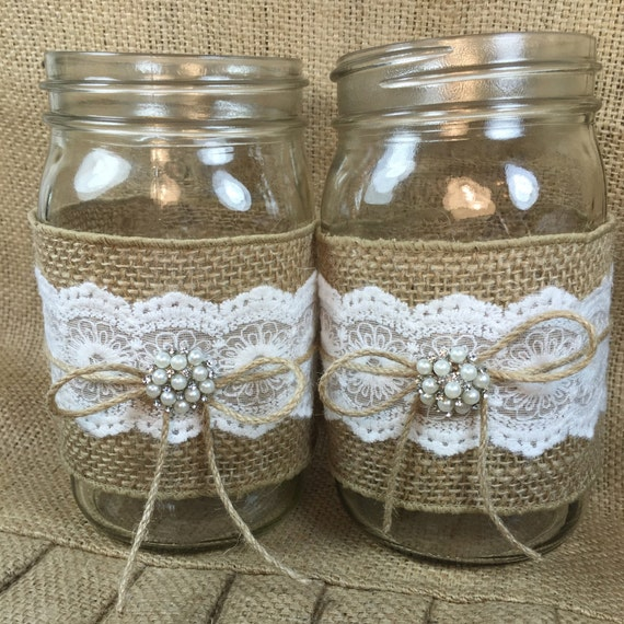 Country Wedding Mason Jars: Set Of 3 Burlap Mason Jar Rustic Wedding By ElianasTreasures
