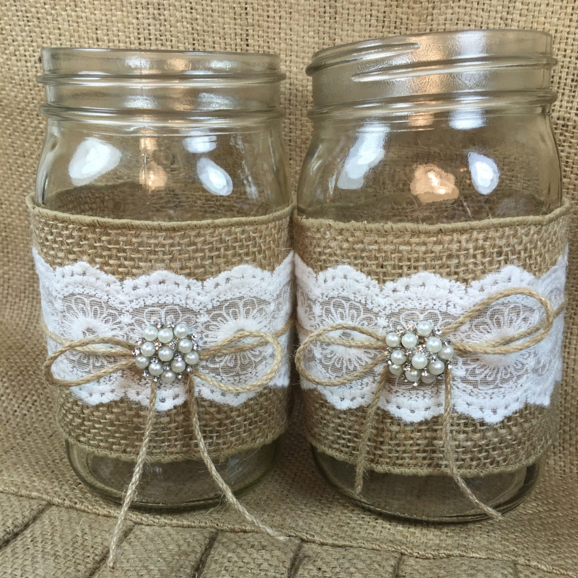 Rustic Jars For Wedding: Set Of 3 Burlap Mason Jar Rustic Wedding By ElianasTreasures