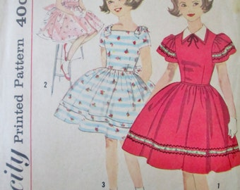 Vintage 1950s Simplicity 3292 Girls 50s Party Dress Sewing Pattern Breast 28