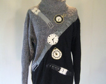 Watch the Time Fly Novelty Fuzzy Sweater Top