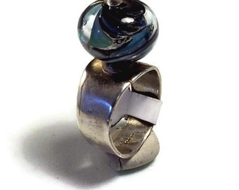blue swirls spinning Silver Ring handmade Lampwork glass bead precious metal clay silver PMC