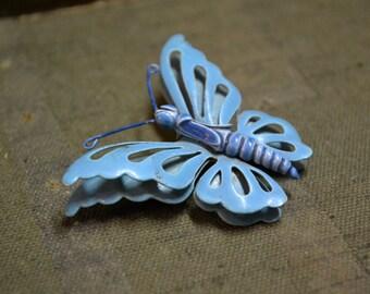 1960s Blue Enamel Butterfly Brooch