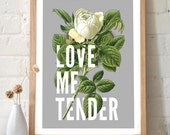 Love Quote Print Love Me Tender Botanical Typography Print with vintage rose. Vintage Inspired original art. wall art home decor - TD104