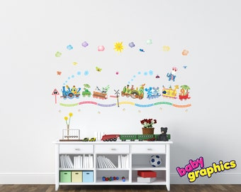 Zoo Train wall decals (turtle, zebra, panda, elephants, giraffes, ostrich, the lion king, monkeys, hippo) - by babygraphics