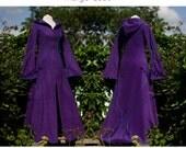 Floor Length Indigo Coat ~ Long Purple Coat ~ Custom made ~ Autumn ~ Fall ~ Halloween ~ Warm Winter Coat ~ Gothic ~ technodolly