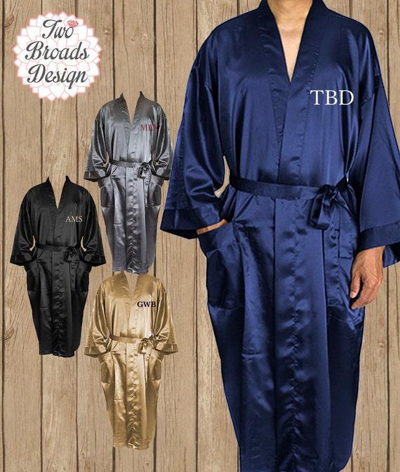 monogrammed mens satin robe mens robe man robe groom robe