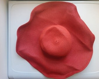 large vintage bright scarlet red wide brim straw bohemian sun hat