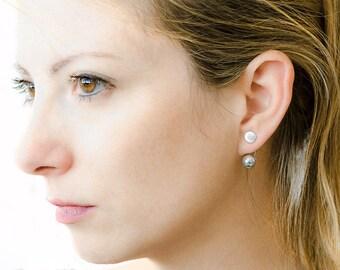 Grey Pearl Ear Jacket, Sterling Silver & Gold Plated, Drop Stud Earrings, Shell Pearl Jacket Earrings,Engagement Gift, EJK004G