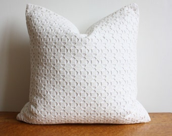 """Handmade All White Embroidered Lace Overlay Square Pillow Cover - 16"""" x 16"""""""