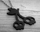 Cherry Skulls Necklace Skull Cherries Gothic Goth Rockabilly Pin Up Tattoo Black Cherry Necklace Cherry Jewelry Skull Necklace Skull Jewelry