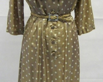 Vintage 1940s Susan Small Coffee & Cream Polka Dot Day Dress Size 12
