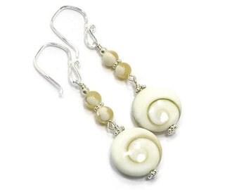 Shiva Shell Earrings, Pacific Cat's Eye Earrings, Shell Earrings, Seashell, Summer Earrings, Beachy