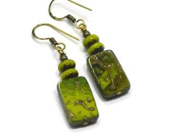 Czech Glass Earrings, Bohemian Earrings, Brass Dangle Earrings, Green Beaded Earrings