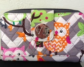 Owl Grey Chevron Quilted Wallet Personalize or monogram Included