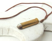 Bullet Necklace - brass bullet necklace - for men - bullet jewelry - agate stone necklace - upcycled/eco-friendly - under 25