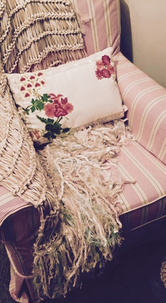 Shabby Chic Home Decor Afghan for Little Girls Room Decor in White, Ivory, Cream, Beige, Pale Pink Blush Pink and Light Teal