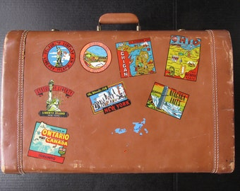 1950s - 1960s Vintage Leather Suitcase with Original Stickers and Decals from NYC, Niagara Falls, Ohio, Atlantic City, etc.