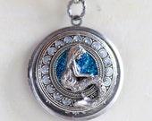 Mermaid Locket Necklace,Jewelry Gift Pendant,Something Blue,Mermaid,Silver Locket,Spring Celebrations,Goddess,Wedding Necklace