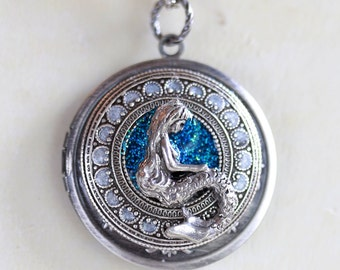 Mermaid Locket Necklace,Jewelry Gift Pendant,Something Blue,Mermaid,Silver Locket,Spring Celebrations,Goddess,Wedding Necklace