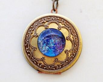 Personalized Locket,Necklace, Galaxy Locket,Brass Round Locket,blue locket,Jewelry,Necklace,Space galaxy universe,bridesmaid gift