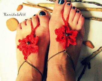 Barefoot Sandals flowers crochet