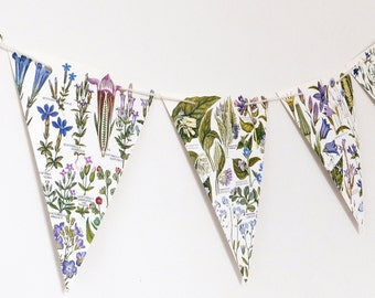 Lilac Floral Botanical Bunting, recycled banner, Flower Garland, eco-friendly paper bunting, upcycled, wedding decor
