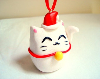 Lucky Cat Christmas Ornament Cat Ornaments Christmas Decoration Christmas Ornament White Lucky Cat Kitty Christmas Ornament
