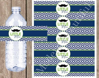 Little man mustache water bottle labels , preppy water bottle label, lime green and navy, lime and navy baby shower, lm2 INSTANT DOWNLOAD