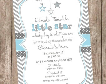 Twinkle twinkle little star a baby boy is what you are - baby shower invitation, boy baby shower invitation, star baby blue TTLS-B