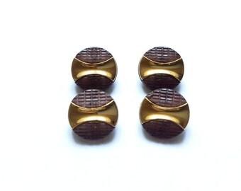 4 Black & Gold Vintage Buttons