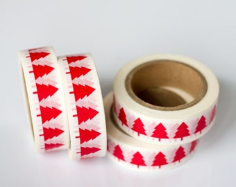 WASHI TAPE CLEARANCE - 1 Roll of Red Christmas Trees Holiday Washi Tape / Decorative Masking Tape (.60 inches wide x 33 feet long)