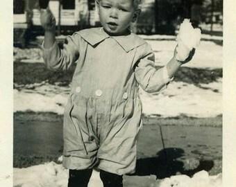 "Vintage Photo ""Snow Ball Chatter"" Snapshot Photo Old Antique Photo Black & White Photography Found Photo Paper Ephemera Vernacular - 02"