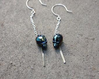 Luxe Swarovski Crystal Skull Drop Earrings in Sterling Silver