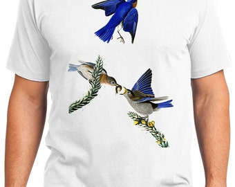 Blue Birds Retro Men & Ladies T-shirt - Gift for Bird Lovers and Ornithologist (idc113)