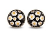 90s Daisy Pattern Earrings - Floral Daisies Maxi Big Studs Spring Summer Bold Black and White Colorful 60s Retro Flower Post Nineties