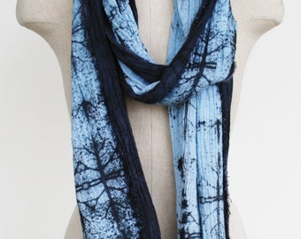 Boho scarf, hand printed scarf, hand painted scarf, cotton shawl, screen printed scarf, boho fashion, urban fashion, faded indigo