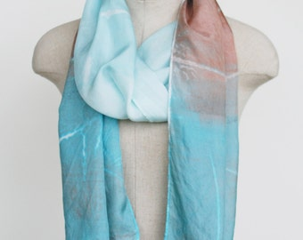 silk scarf, hand printed, hand dyed, hand painted, unique scarf, pastel, sky blue, desert palette