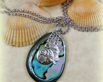 "Abalone Necklace OOAK - Abalone Pendant with Beach Charms on 22"" Rhodium Chain Stainless Steel Clasp and Bail - High Quality Components"